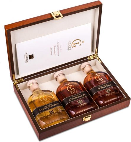 Marzadro Grappa Giare Collection 3 x 0,2 l in exklusiver Holzkiste